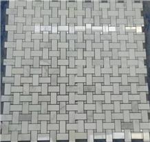 White Marble Basketweave Mosaic Tile Walling