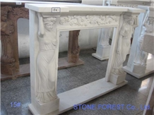 White Marble Fireplace-Human Woman Hand Carving