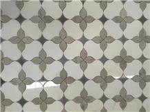 White Marble Flower Design Wall Panel Tile