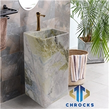 Cold Emerald Marble Pedestal Sink, Stone Basin
