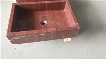 Coral Red Marble Sink, China Red Marble Basin