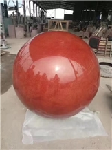 China Red Granite Polished Car Parking Balls Curbs