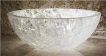 White Crystal Semiprecious Stone Wash Basins &Sink