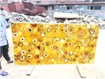 Yellow Agate Polished Semiprecious Stone Slabs