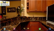 Black and Gold Marble Kitchen Countertop, Island Top