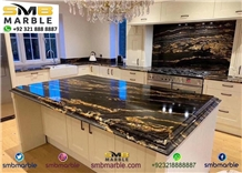 Black & Gold Double Polished Kitchen Island Top