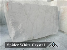 Spider Crystal White Marble Block