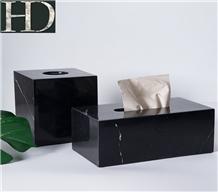 Chinese Nero Marquina Marble Black Tissue Box Case
