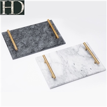 Natural Marble Tea Tray Jewelry Plate with Handle