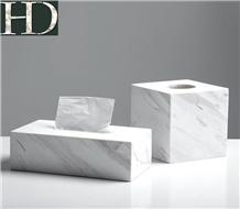 Volakas White Marble Tissue Box Natural Stone Case