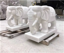 Han White Marble Elephant Animal Outdoor Statues