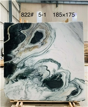 China Panda White Marble Bookmatch Black Veins