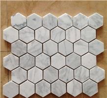 Polished Hexagon Carrara White Marble Mosaic