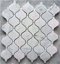 Polished Lantern Shape Carrara Marble Mosaic Tile