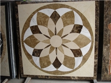 Polished Waterjet Square Marble Mdeallions Floor