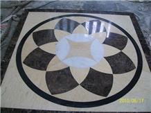 Waterjet Marble Floor Medallion Pattern Multicolor