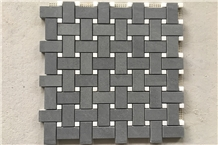 Black Marble Mosaic Tile Basketweave Mosaic