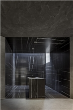 Black Nero Marquina Marble Stone Entrance Walling