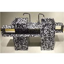 Black Terrazzo Bathroom Double Sink Vanity Tops