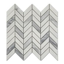 Chevron Gray Mixed White Marble Mosaic Tiles