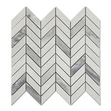Chevron Gray Mixed White Marble Mosaic Tiles