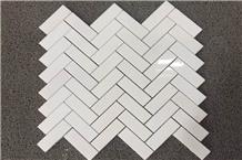 Chevron Mosaic White Marble Herringbone Mosaic