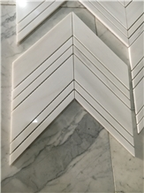 Chevron Shape White Dolomite White Marble Mosaic