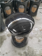 India Black Granite Lamp Funeral for Tombstone