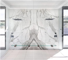 Luxury Calacatta White Marble Bookmatch Wall