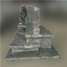 Multicolor Juparana Granite Sand Waves Tombstone