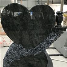 Olive Green Granite Heart Shape Monument Graves