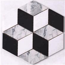 Rhombus 3d White Black Mosaic Floor and Decor