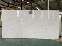 White Quartz Engineered Stone Slabs for Countertop