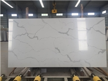 White Quartz Slabs with Calacatta Veins