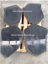Black Basalt Slice Stone Garden Stepping Pavements