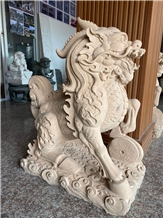 Beige Sandstone Kylin Chinese Dragon Sculptures
