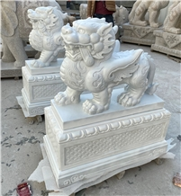 Pure White Marble Kylin Pi Xiu Handcarved Statues