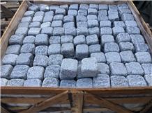 Grey Granite in Antic Tumbled Cobblestone, Cubed Pavers