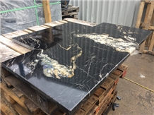 Black Fusion Granite Slab for Kitchen Countertops
