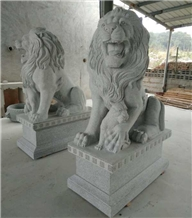 Garden Light Grey Granite Stone Lion Statues