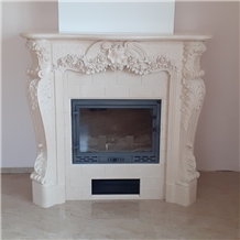 Polished Galala Beige Marble Fireplace Surround