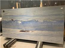 Azul Imperial Quartzite Slab Kitchen Floor & Wall