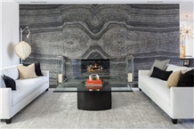 China Black Serpeggiante Marble Slab, Wooden Vein Wall Bookmatch