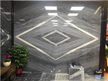 New Cartier Grey Blue Wooden Vein Marble Wall Slab Bookmatch