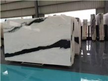 China Panda White Marble Slab Tiles Black Vein