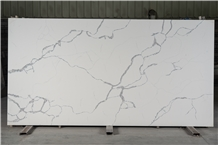 Engineered White Calacatta Quartz Stone Slab