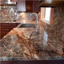 Rainforest Green Marble Kitchen Countertops