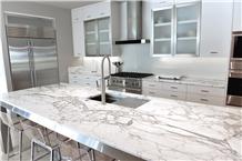 Statuario White Marble Kitchen Countertop Island