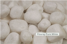 White Marble Pebble Stone, Flouray Pure White Pebbles
