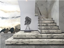 Calcutta Calacatta White Marble for Stairs Project